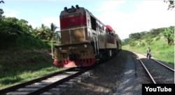 Reporta Cuba. Tren que va de Bayamo a Santiago de Cuba. Foto: Camilo Venegas (Youtube).