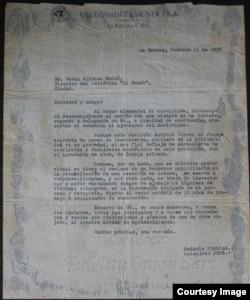 La carta de renuncia de Prohías a su sección de la caricatura editorial del diario El Mundo, presentada el 13 de febrero de 1959 (Cortesía/Colección Familia Prohías).
