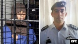 Retrato del piloto jordano Muaz Kasasbeh (d), capturado por el grupo EI y retrato de la terrorista iraquí detenida en Jordania Sayida Rishawi.
