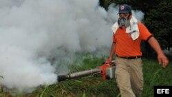 Una fotografía cedida por la Comisión Permanente de Contingencias (Copeco) de Honduras muestra a un hombre que fumiga para erradicar a los zancudos transmisores del dengue hoy, miércoles 24 de julio de 2013, en una colonia de Tegucigalpa (Honduras). Copec