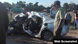 Auto de turismo involucrado en trágico accidente en Jatibonico