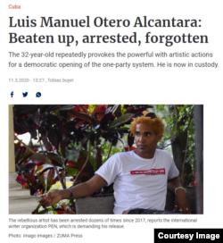 Captura de pantalla de la nota sobre el artista Luis Manuel Otero Alcántara en el diario aleman Berlines Zeitung.