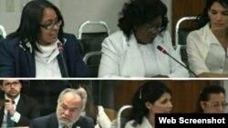 Fotogramas de la audiencia en la CIDH