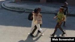 Berta Soler en el momento que es detenida.