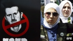 Mujeres turcas protestan contra el presidente sirio Bachar Al Asad, en Estambul, Turquía, el 14 de julio del 2012.