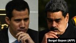 El presidente interino de Venezuela, Juan Guaidó, y el presidente en disputa, Nicolás Maduro.