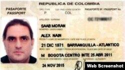 Pasaporte colombiano de Alex Nain Saab Morán.