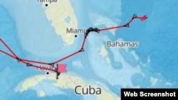 Posición el viernes 12 de mayo del tanquero danés Maersk Erin que lleva petróleo ruso a Cuba (marinetraffic.com)