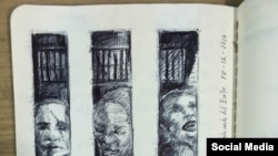 Aparecen en Facebook los dibujos del artista cubano preso por comentar la muerte de Fidel Castro