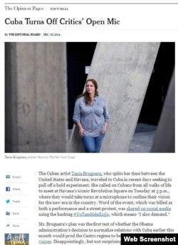 """El editorial """"Cuba Turns Off Critics' Open Mic"""" el New York Times."""