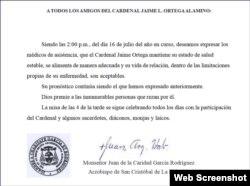 Carta del arzobispo de La Habana sobre estado de salud del cardenal Ortega.