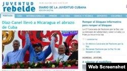 Portada de este miércoles, 20 de julio, del diario oficial Juventud Rebelde.