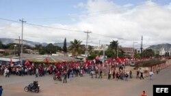 Vista general de la marcha encabezada por la candidata presidencial del Partido Libertad y Refundación (LIBRE) en las elecciones del pasado 24 de noviembre.