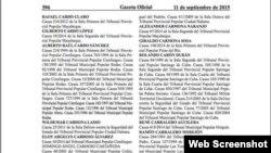 Lista de los presos indultados en Cuba.