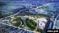 Vista aérea virtual de lo que será el complejo de fútbol Miami Freedom Park, promovido por el ex astro británico David Beckham y el empresario cubanoamericano Jorge Mas Santos. La iniciativa fue aprobada por,los electores de Miami.