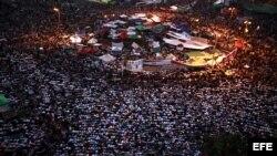 Manifestantes egipcios durante una protesta contra la Junta Militar, el viernes 22 de junio de 2012 en El Cairo, Egipto.