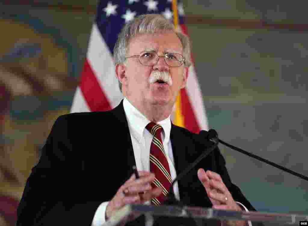 John Bolton, asesor de Seguridad Nacional de Estados Unidos, durante su discurso en la emblemática Torre de la Libertad, Miami. (Foto: Roberto Koltun)