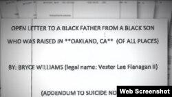 Captura de imagen del manifiesto escrito por el atacante de Virginia.