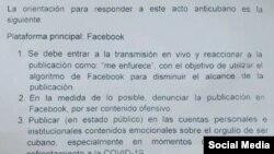Aunque el documento ha sido compartido a modo de denuncia por numerosos usuarios de las redes sociales, Radio Televisión Martí no ha podido verificar independientemente su autenticidad.
