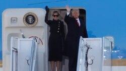 El presidente Donald Trump y la primera dama Melania Trump abordan el Air Force One en la Base Andrews de la Fuerza Aérea. (AP/Luis M. Alvarez)