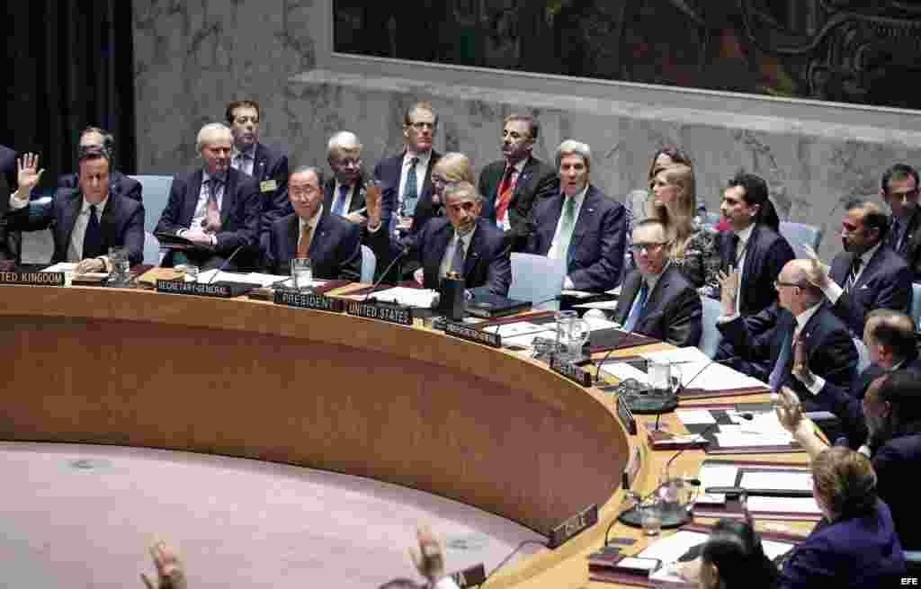 El presidente estadounidense, Barack Obama (c), habla en una reunión de alto nivel del Consejo de Seguridad de Naciones Unidas sobre terrorismo mundial.