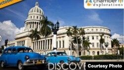 Anuncio de la Cámara de Comercio de Glen Ellyn, en Illinois, promoviendo el viaje a Cuba.