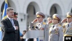 El presidente de Ucrania, Petro Poroshenko, en el acto por el Día de la Independencia.