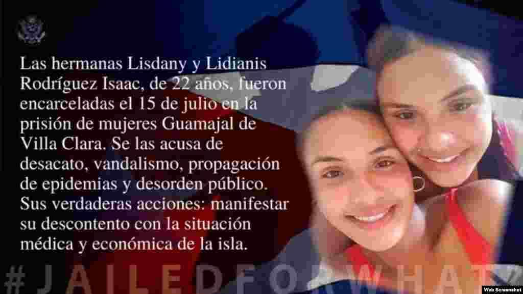 Hermanas Rodríguez Isaac en la campaña #PresosPorQué del Departamento de Estado