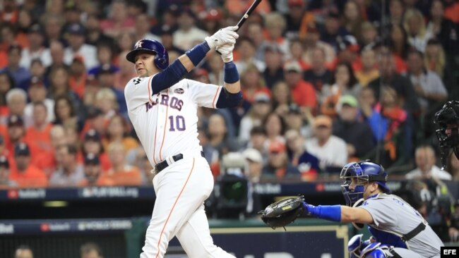 6f251f6d971ce Houston Astros batter Yuli Gurriel hits a solo home run against the Los  Angeles Dodgers