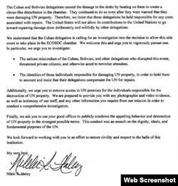 Carta de Nikki Haley a Antonio Guterres obtenida por foxnews.com.