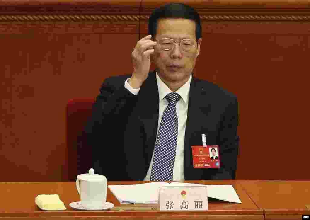 Fotografía de archivo tomada el 13 de marzo de 2016 que muestra a Zhang Gaoli, miembro del Comité Permanente, el órgano de más poder del Partido Comunista (PCCh), durante el duodecimo Comité Nacional de la Conferencia Consultiva Política del Pueblo chino