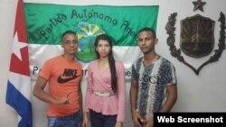 Jovián Diaz y Dayani Salazar junto a y otro activista.