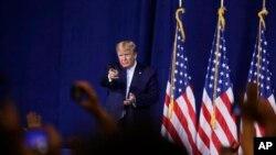 El presidente Donald Trump, durante un reciente acto de campaña en Miami.