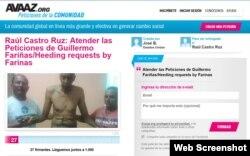 Petición a Raúl Castro, lanzada en la plataforma Avaaz.org.