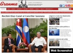 Portada digital del periódico Granma la mañana del martes.