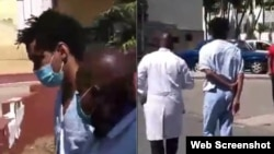 Luis Manuel Otero Alcántara caminando por las calles del hospital Calixto García junto al médico que lo atiende, según muestra un segundo video publicado por el régimen cubano.