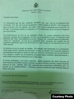 Negativa de visa de no inmigrante expedida por la Embajada de EEUU en La Habana al grafitero Danilo Maldonado, El Sexto.