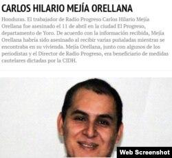 Trabajador de la radio en Honduras, asesinado en 2014.