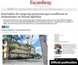 La información como la publica el periódico Escambray, de Sancti Spiritus, en su página digital.