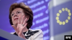 Neelie Kroes, vicepresidenta de Comisión Europea.