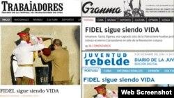 Portadas de lo principales periódicos cubanos tras el funeral de Fidel Castro.