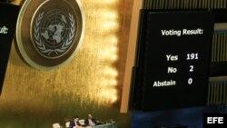Vista del resultado de la votación hoy, martes 27 de octubre de 2015, durante la sesión de la Asamblea General acerca de la resolución sobre el embargo de Cuba, en la sede central de Naciones Unidas en Nueva York (EE.UU.).