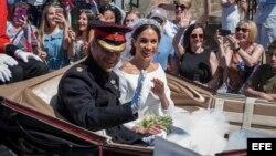 Los recién casados, el prícipe Harry y la estadounidense Meghan Markle.