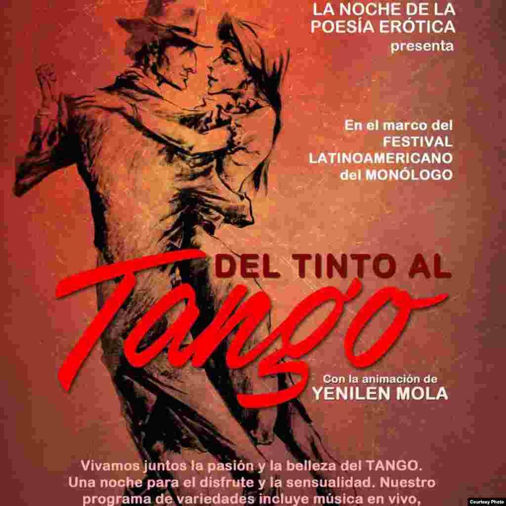 """El espacio """"La noche de la poesía erótica"""", presenta """"Tango"""", animada por Yenilen Mola."""