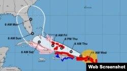 Posiciones del huracán Irma pronosticadas por el NHC a las 11 am EST del miércoles 06/09/17. Mapa http://www.nhc.noaa.gov