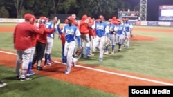 Equipo Cuba en la Liga CanAm. Foto tomada de la cuenta de la Dirección Nacional de Beisbol @DireccionNacio5