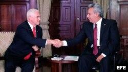 Presidente Lenín Moreno recibe al vicepresidente estadounidense en Quito.