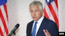 El secretario de Defensa estadounidense, Chuck Hagel, durante su conferencia de prensa en Malasia.