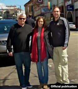 Cleve Jones, Mariela Castro y Jeff Cotter en San Francisco en el 2012. Foto tomada de rainbowfund.org.