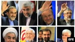 Combo de fotografías tomadas en diversas fechas en el Ministerio del Interior de Irán durante el registro oficial de las candidaturas presidenciales para las elecciones del próximo 14 de junio, en Teherán, Irán